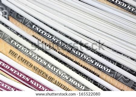 United States Treasury Savings Bonds - Financial Security - stock photo