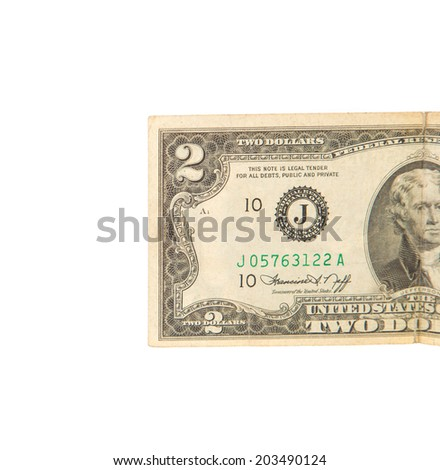 United States two dollar bill. Isolated on a white background.