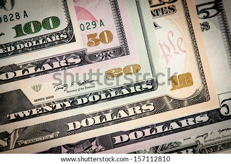 United States various dollar bills macro shot. - stock photo