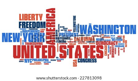 United States word cloud illustration. Tag cloud keyword concept.