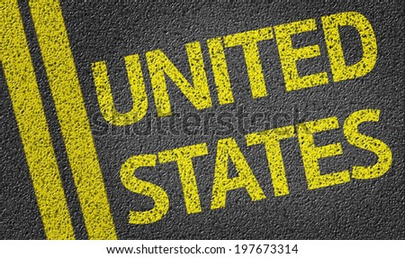 United States written on the road - stock photo