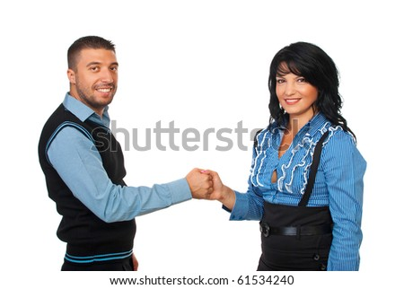 United  two business people hold their hands  and showing union or joined to business isolated on white background