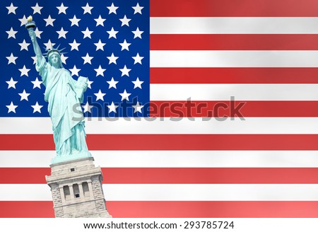 Unites States Flag Statue of Liberty