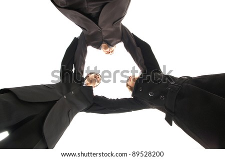 Unity of business people over white background - stock photo
