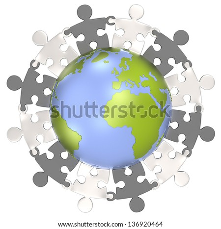 Unity. Puzzle people holding hands around the Globe. Metal edition. Isolated. - stock photo