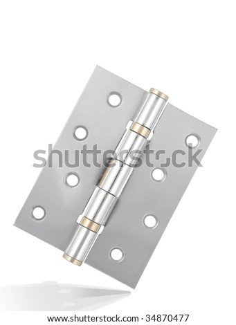 Unity Silver hinge with metal texture,isolated on white with clipping path.