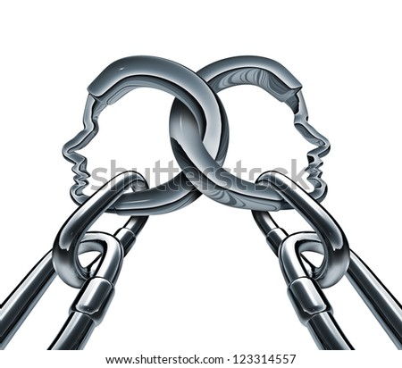 Unity strength and business group partnership as two metal chains shaped as a three dimensional human head linked together in a strong team network for success isolated on a white background.