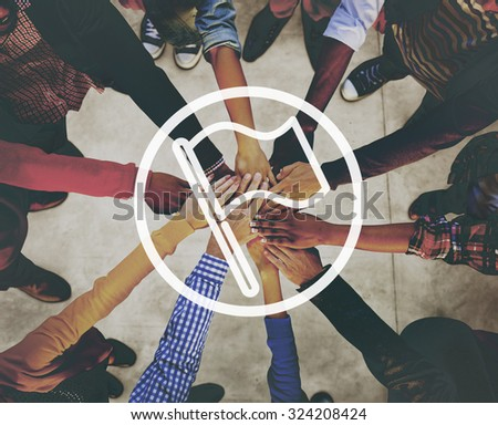 Unity Togetherness Banner Pin Post Symbolic Flag Concept - stock photo