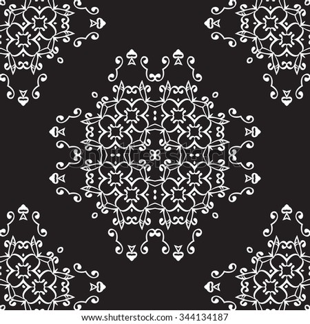 Universal different seamless vintage eastern patterns (tiling). Endless texture can be used for wallpaper, pattern fills, web page background,surface textures. Retro monochrome geometric ornament.