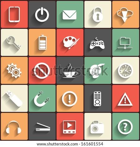 Universal Flat Icons. Raster version - stock photo