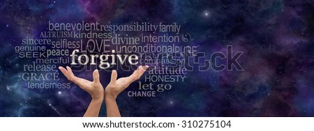 Universal forgiveness -  Female open palm hands on a panoramic deep space dark blue background reaching up to the word Forgive above surrounded by a relevant word cloud and copy space on right side - stock photo