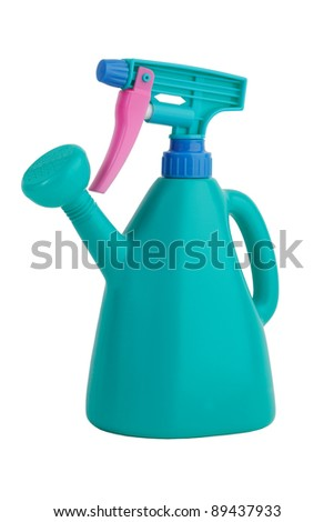Universal green watering can with pulvirizatorom on a white background