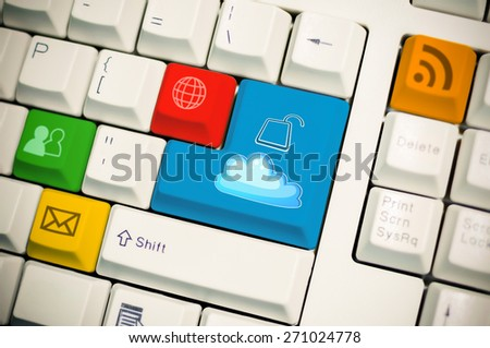 Universal internet symbol keyboard with cloud unlock button on enter - stock photo