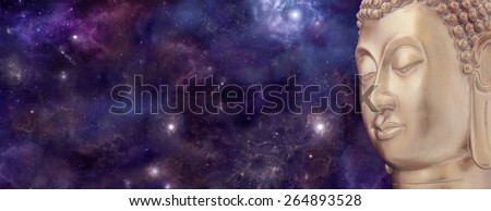 Universal Meditating Buddha - Wide starry night sky banner with cropped golden Buddha's head on right hand side and plenty of copy space  - stock photo