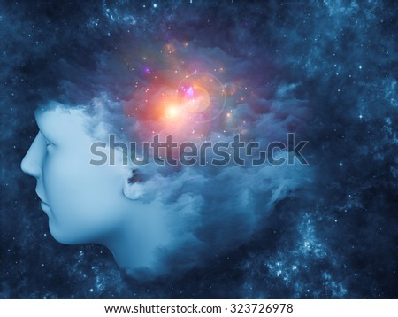 Universal Mind series. Creative arrangement of human head and fractal clouds to act as complimentary graphic for subject of mind, dreams, thinking, consciousness and imagination - stock photo