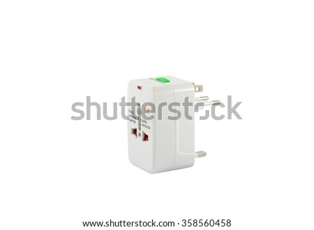 universal plug adapters, travel adapters isolated on white background