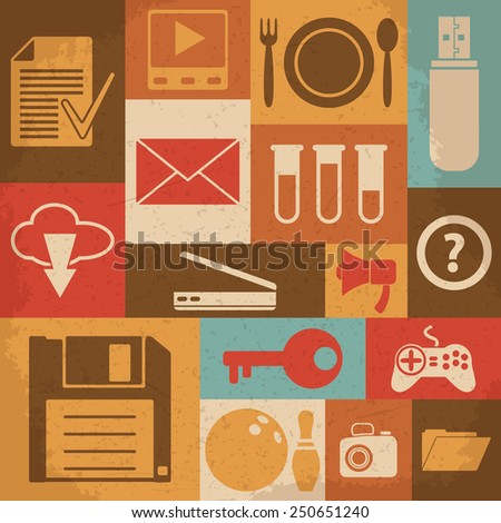 Universal Retro Icons For Web and Mobile. Raster version - stock photo