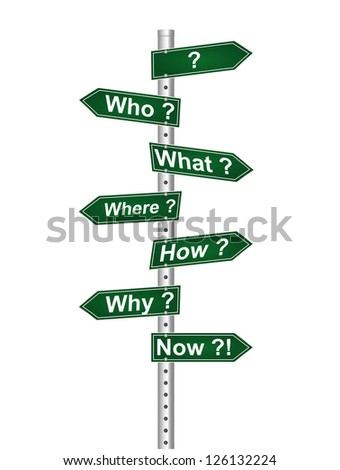 Universal troubling questions and confusions. Several street signs with the common questions - who, what, where, when, why, how. Road Signs. - stock photo