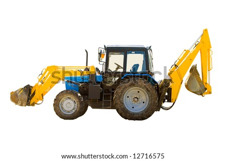 Universal wheeled tractor isolated over white background