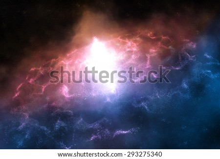 Universe. Artistic background for use with projects on fantasy, science, designnebula and galaxy - stock photo
