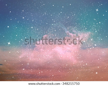 Universe filled with stars and snow - stock photo