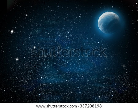 Universe filled with stars, planet and galaxy - stock photo