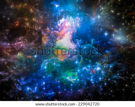 Universe Is Not Enough series. Abstract arrangement of fractal elements, lights and textures suitable as background for projects on fantasy, science, religion and design - stock photo