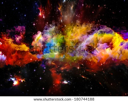 Universe Is Not Enough series. Composition of fractal elements, lights and textures on the subject of fantasy, science, religion and design - stock photo