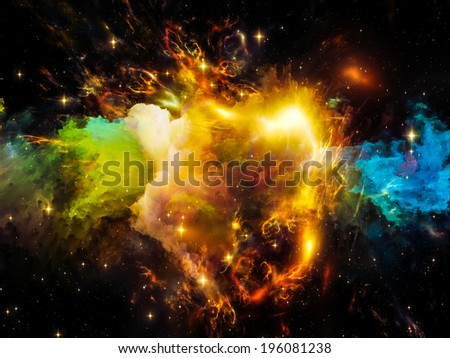 Universe Is Not Enough series. Composition of fractal elements, lights and textures with metaphorical relationship to fantasy, science, religion and design - stock photo