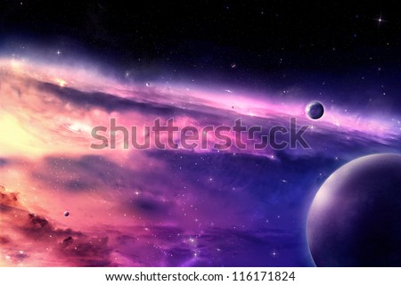 Universe scene in outer space - stock photo