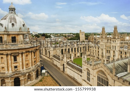 University buildings in a city, Radcliffe Camera, Oxford University, Oxford, Oxfordshire, England - stock photo