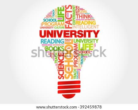 UNIVERSITY bulb word cloud, business concept - stock photo