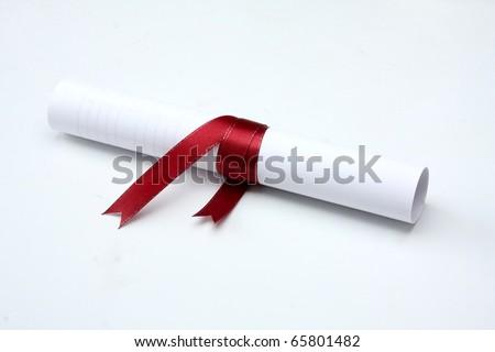 University diploma isolated on white - stock photo