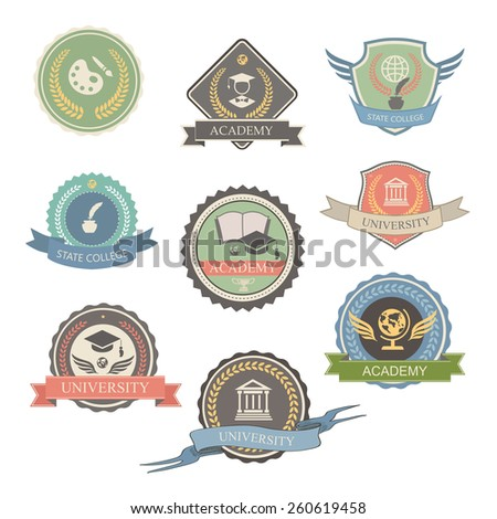 University Emblems And Symbols - Isolated   Illustration, Graphic  Design college Logo - stock photo