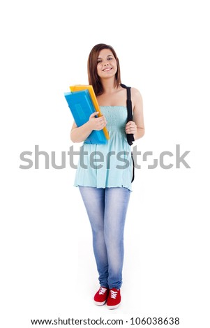 University girl holding a school bag and smiling - stock photo