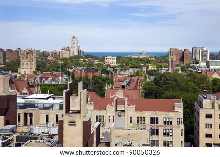 University of Chicago campus aerial photo.  Museum of Science and Industry in the background. - stock photo