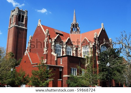 University of Florida Auditorium and Century tower - stock photo