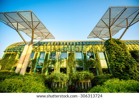 University of Warsaw library with beautiful rooftop gardens in Poland - stock photo
