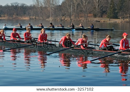 University of Wisconsin women's rowing team waits for Drake team to get into position for race - April 14, 2007 at Minnesota