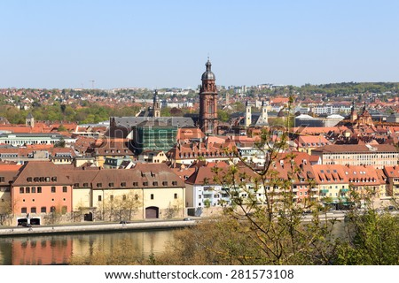 University of Wurzburg and historic city, Bavaria, Germany - stock photo