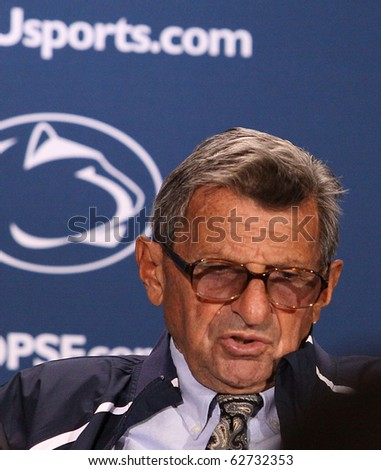 UNIVERSITY PARK, PA - OCT 9: Penn State addresses the media after a tough loss against Illinois at Beaver Stadium October 9, 2010 in University Park, PA