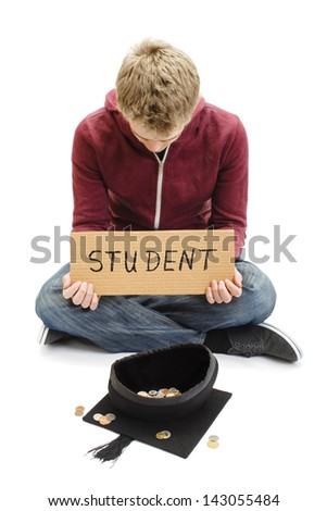 University Student Begging with Mortar Board Graduation Cap - Education Costs - stock photo