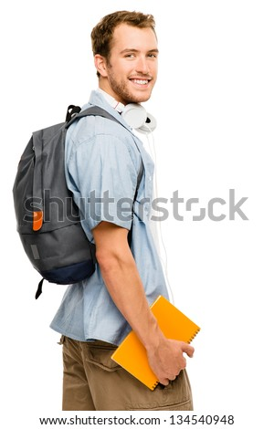 university student man back to school - stock photo