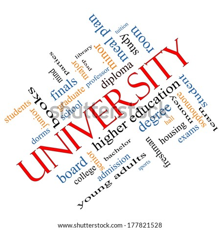 University Word Cloud Concept angled with great terms such as tuition, study, student, major and more. - stock photo