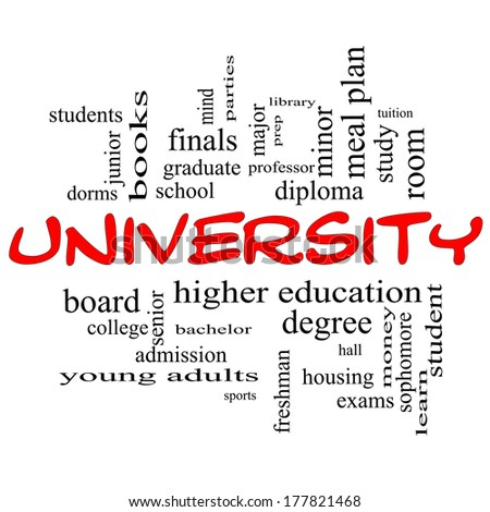 University Word Cloud Concept in red caps with great terms such as tuition, study, student, major and more. - stock photo