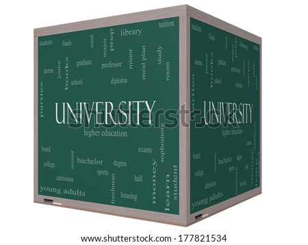 University Word Cloud Concept on a 3D cube Blackboard with great terms such as tuition, study, student, major and more. - stock photo