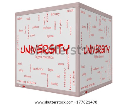 University Word Cloud Concept on a 3D cube Whiteboard with great terms such as tuition, study, student, major and more. - stock photo