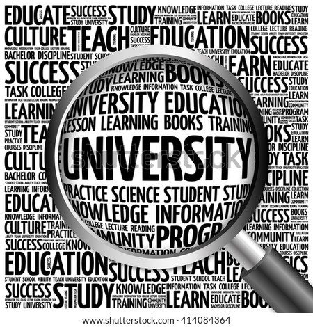 UNIVERSITY word cloud with magnifying glass, concept