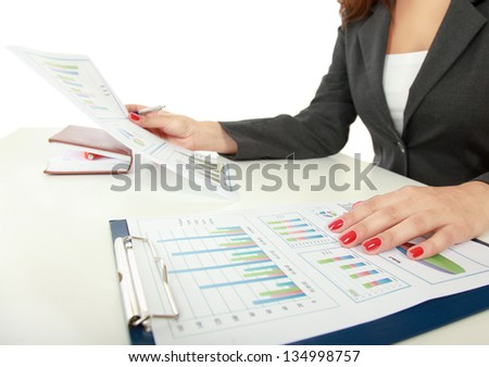 Unknown business woman with folder, isolated on white background