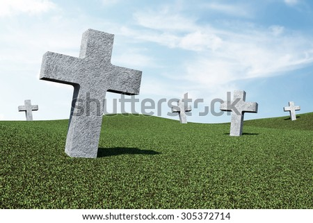 Unknown Cemetery Crosses in Green Field with Clouds - stock photo